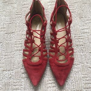 Michael Kors Womens Coral Suede Pointed Lace Flats